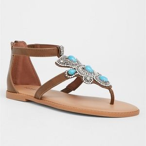 SOLD~Torrid Brown Turquoise Stone T-Strap Sandal